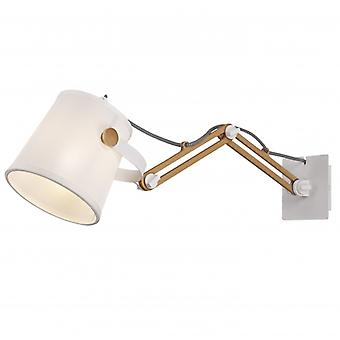 Mantra Nordica Ii Position Extendable Wall Light White/beech With White Shade