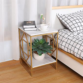 2 Tier Square Side End Accent Table Marble Vein Living Room Corner Table Art Dec
