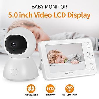 SHIWOJIA Wireless Digital Video Baby Monitor 1080P Nachtsicht Zwei-Wege-Audio USB-Lade-IP-Kamera