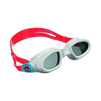 Aqua Sphere Mako Swim Goggle- Dark Lens- White/Light Blue/Red Frame