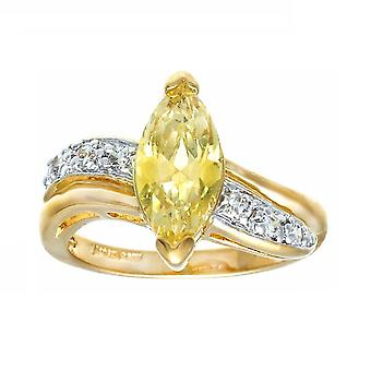 Updated Classic Two Tone Solitaire Marquise Pale Yellow Ring