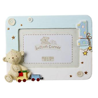 "Button Corner Resin Photo Frame 1st Birthday Pink 6"" x 4"""