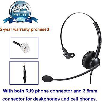 Telefon Headset mit Noise Cancelling Mikrofon bro CallCenter Kopfhrer mit RJ11 und 3.5mm Klinke fr