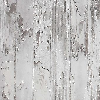 Distressed Wood Grey Wallpaper