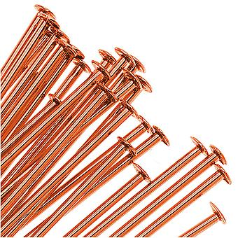 Final Sale - Head Pins, 2 Inches Long and 21 Gauge Thick, 25 Pieces, Tangerine Orange Color Brass