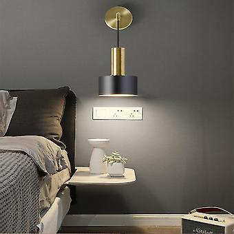 12CM Modern Polished Black Single Wall Spotlight, Metal Adjustable Armrest Wall Lamp, Reading
