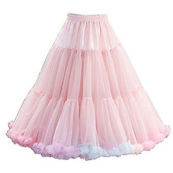 Women's Elastic Waist Puffy Tulle Petticoat, Rainbow Cloud Short Tutu Skirt