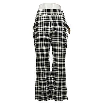 IMAN Global Chic Pantalones Petite para Mujer 360 Slim Ponte Boot-Cut Negro 722609FV5