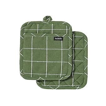 Ladelle Eco Check Set of 2 Pot Holders, Green