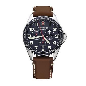 Mäns klocka Victorinox FIELDFORCE Kronograf, blå urtavla, brunt läderband - 42 mm