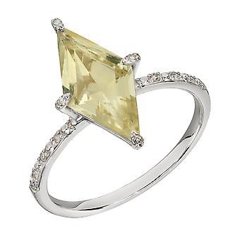 Elemente Gold Damen 9ct Weißgold Kite Form Zitrone Quarz & Diamant Verkrustet Band Ring 0.05ct Diamant Gewicht