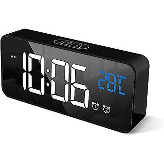 Cyfrowy budzik z dużym wyświetlaczem temperatury LED, przenośny alarm lustrzany z podwójnym alarmem, czarny