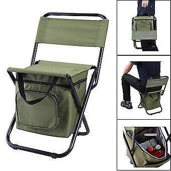 כיסא נייד חיצוני מתקפל חבילת קרח עם שקית אחסון עם משענת גב פונקציה פנאי