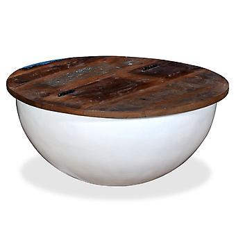 vidaXL soffbord återvunnet trä fast vit skål form