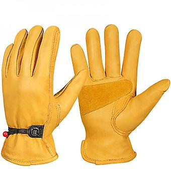 Leather Work Gloves - Adjustable Wrist Tough Cowhide Working Gloves For Men And Women Gold