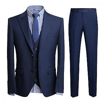 Homemiyn Men's Solid Color Two-button Slim Fit Three-piece Suit
