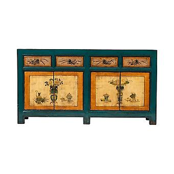 Hieno aasialainen ikiliikkuja Antiikki Kiinalainen Sivupöytä Käsinmaalatut kukat Sininen Oranssi W165xD45xH86cm