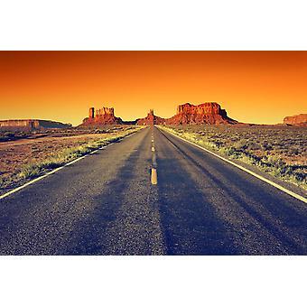 Tapetmaleri Veien til Monument Valley ved solnedgang