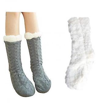 Ladies Foot Warmer Soft Socks Winter Warm Cotton Socks Household Foot Warmer(Gray)
