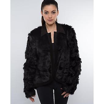 Beaded & Embroidered Faux Fur Jacket
