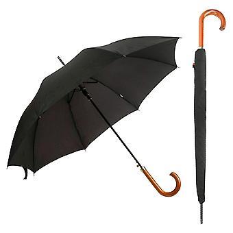 יוניסקס רגיל שחור שחור הליכה אוטומטית מטריה עם ידית עץ (בד פונגי פרימיום)