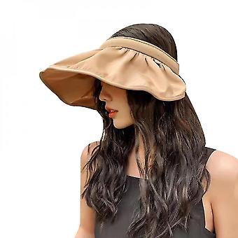 Vrouwen mode zomer zonnehoed anti-uv zonnehoeden hoofdbanden (Khaki)