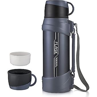 Thermos flask 2L, portable stainless steel travel bottle, 48 hours hot and 24 hours cold, suitable for sports, fitness and hiking(Blue)