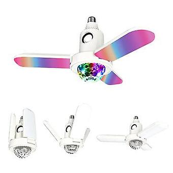 E27 led deformable ceiling fan light rgb bluetooth music speaker lamp with remote
