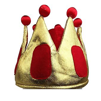 King hat crown costume accessory halloween prince party dress soft gold/red cap