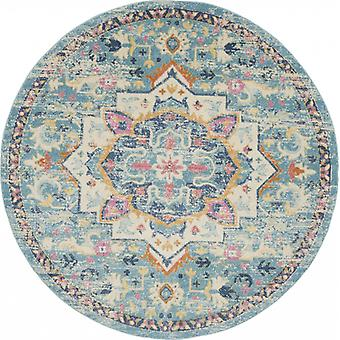 8' Round Light Blue and Ivory Distressed Area Rug