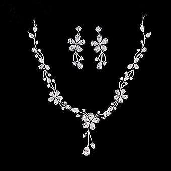 Women Bridal Wedding Jewelry Sets Charm Crystal Flower Drop Pendant Necklace Shininy Earrings