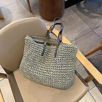Nyári stílusú trendi rattan szőtt kézi táskák (Zöld A)