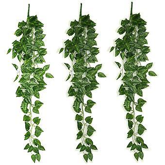 3pcs צמח מלאכותי תלוי גפן מזויפת עלים גרלנד Scindapsus גפן