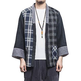 Yunyun Men's Stitching Contrast Plaid Casual Cardigan