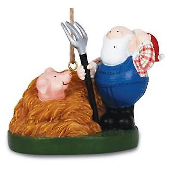 Farmer Santa With Pitchfork and Pig in Haystack Christmas Holiday Ornament