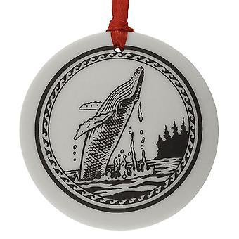 Totem de ballena jorobada a mano redondo porcelana forma Navidad / Kee...