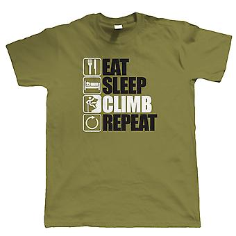 Eat Sleep Climb Repeat, T Shirt - Mountain Climbing Gift for Him Dad Birthday