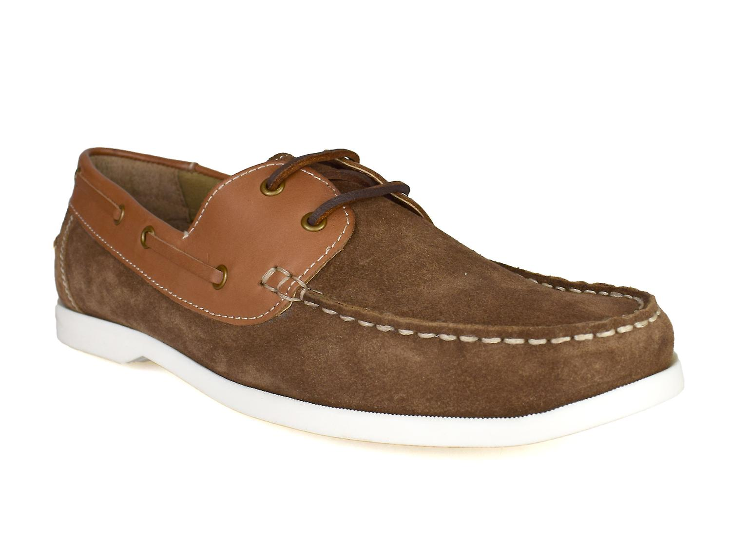 Silver Street London Wave Mens Tan Suede Boat Shoes