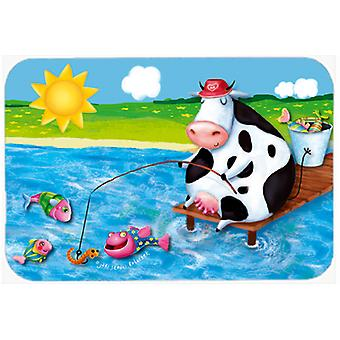 Cow Fishing off of a Pier Glass Cutting Board Large