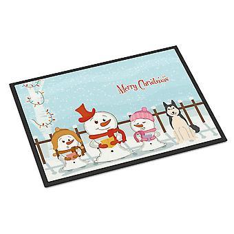 Merry Christmas Carolers West Siberian Laika Spitz Indoor or Outdoor Mat 18x27