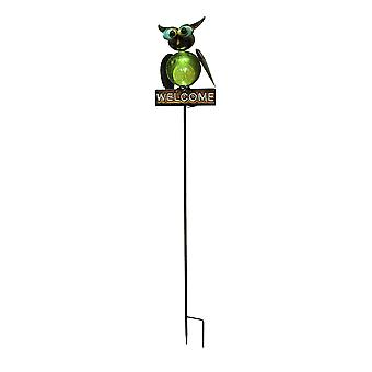Hand Crafted Metal Owl Solar Powered Garden Stake Welcome Accent Light