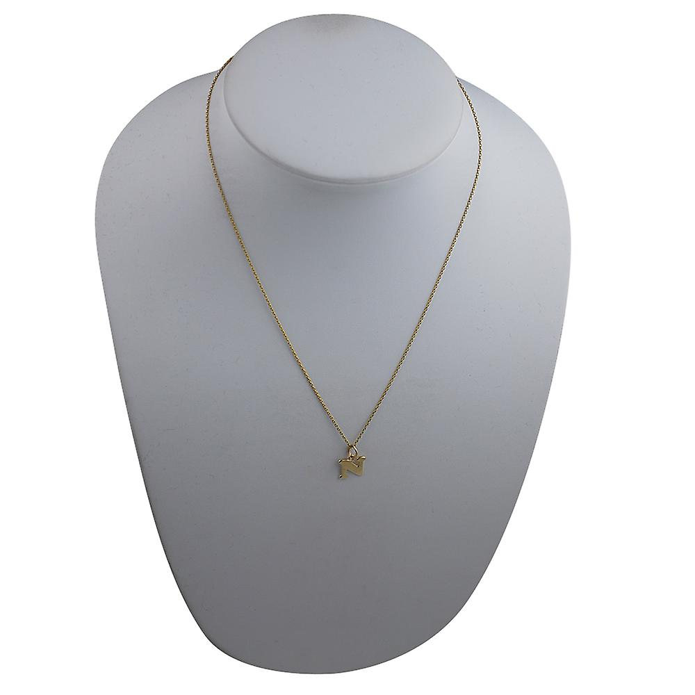 9ct Gold 11x10mm plain Initial N Pendant with a cable Chain 18 inches