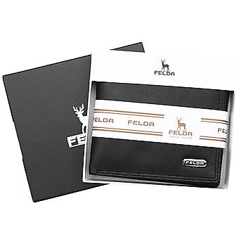 Felda Rfid Blocking Leather Mens Wallet With Coin, Bank Note, Credit Card, 2 Id Compartments - Gift Boxed