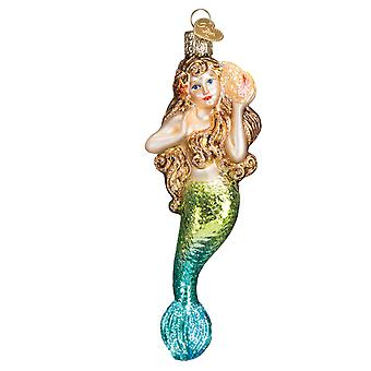 Old World Christmas Golden Haired Mermaid Beauty Glass Holiday Ornament