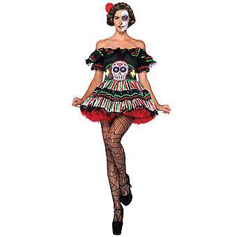 Day Of The Dead Doll Mexican Spanish Senorita Skull Women Costume