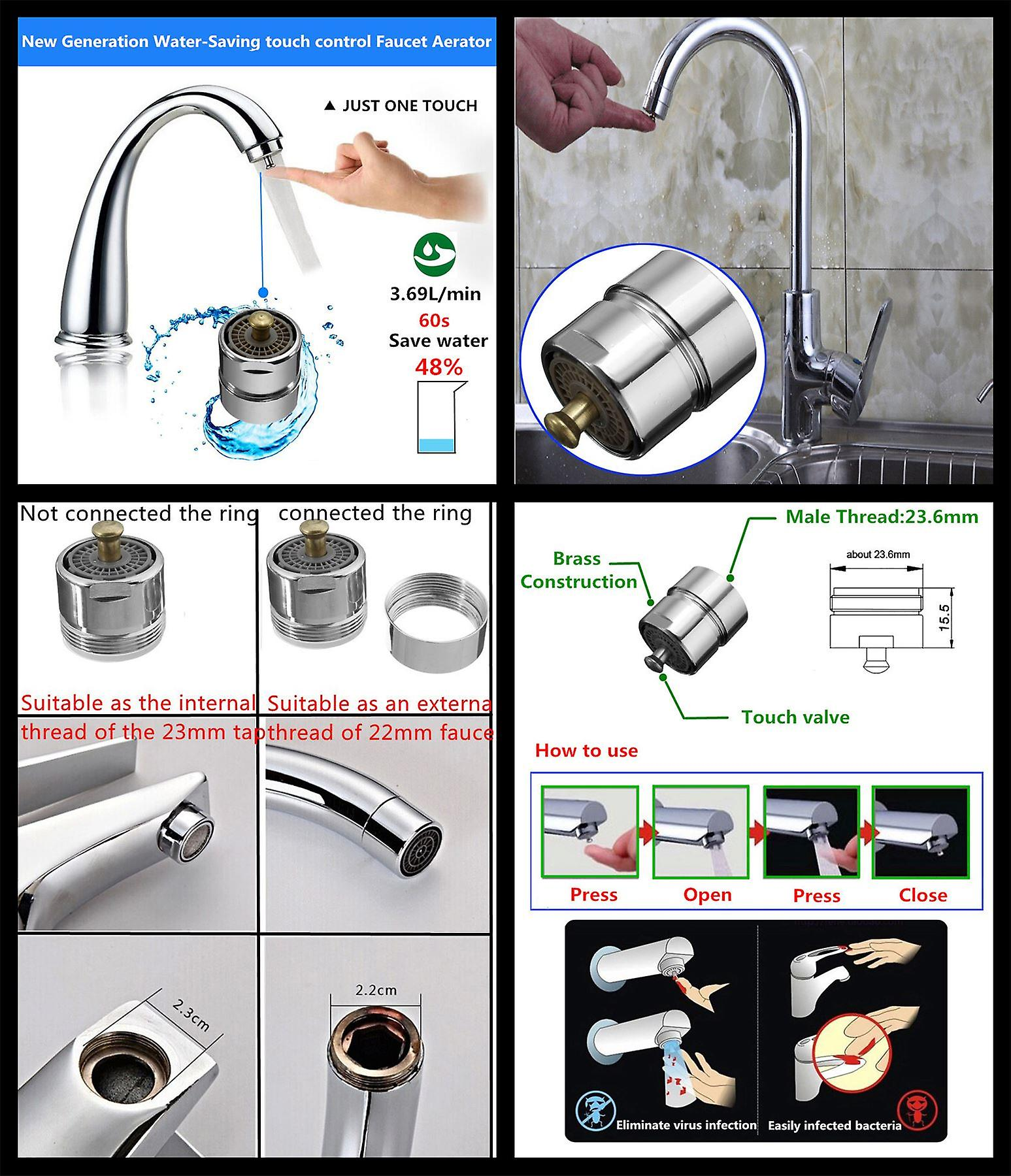 One Touch Control Faucet Tap Aerator Water Saving 24mm Male/22mm Female 4l/min