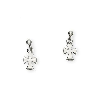 Sterling Silver Traditional Contemporary Modern Crosses Design Pair of Earrings - E133