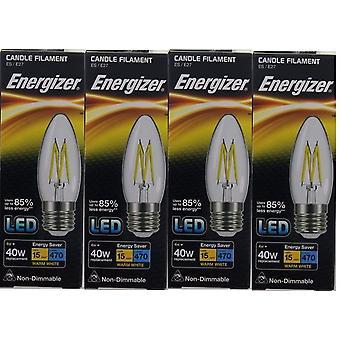 4 x Energizer LED Filament kaars ES E27 4W = 40W 470lm Warm witte schroefdop lamp [energieklasse A +]