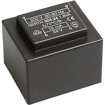 Gerth PT301201 PCB mount transformer 1 x 230 V 1 x 12 V AC 1.80 VA 150 mA