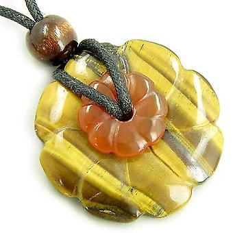 Double Lucky Flower Amulets Tiger Eye And Carnelian Necklace